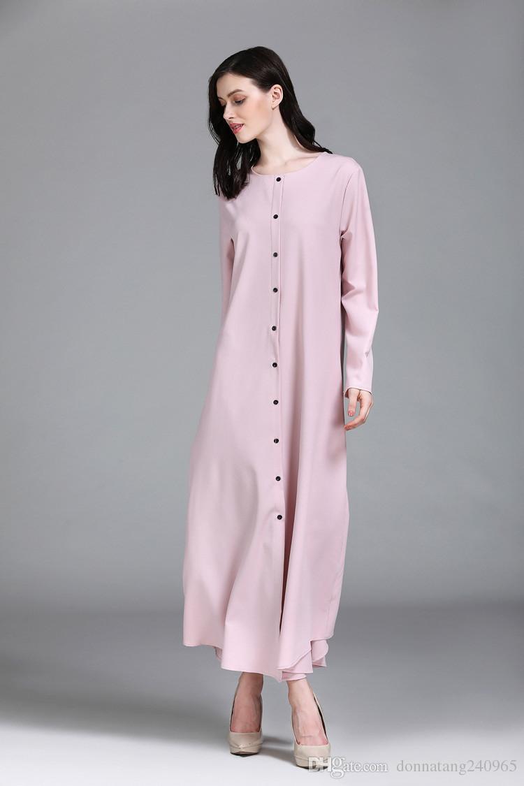 Donna Casual Arab Maxi Robes Abito islamico Islamico Abaya O Collo Abbigliamento turco Musulmane Thobe Dubai Kaftan Kimono Pulsante frontale aperto