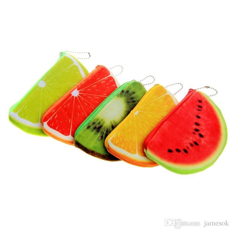 arbeiten Sie orange Wassermelonenhalbkreis Geldbörsen Geldbeutel der Damen 3D weiche Druckenfruchtbeutelkinderkleidungsbeutel für Kindergeschenk TO482 um