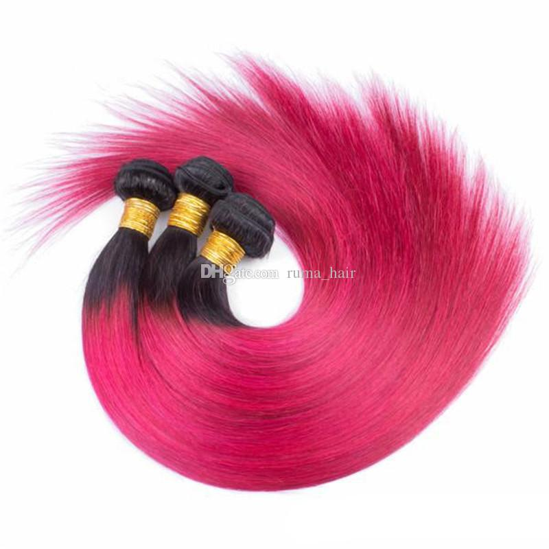 Rose rouge cheveux raides humain avec dentelle Frontal foncé Racine Ombre Dentelle Frontal Avec Bundles Silky droite Tissages cheveux humains
