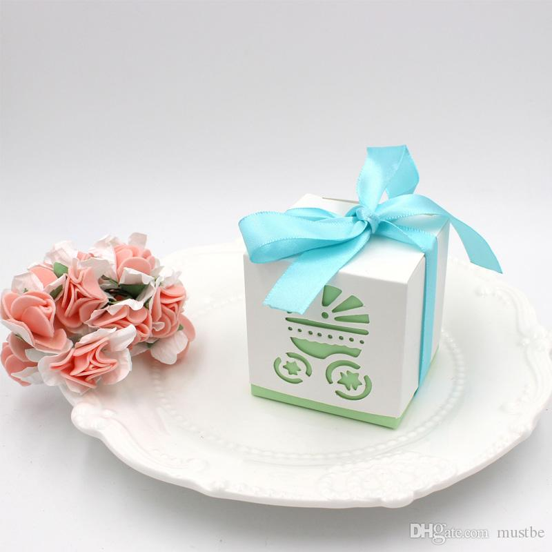 Square Laser Cut Baby Carriage Cookie Gift Boxes Wedding Favor Baby Shower Candy Treat Bag Party Decoration