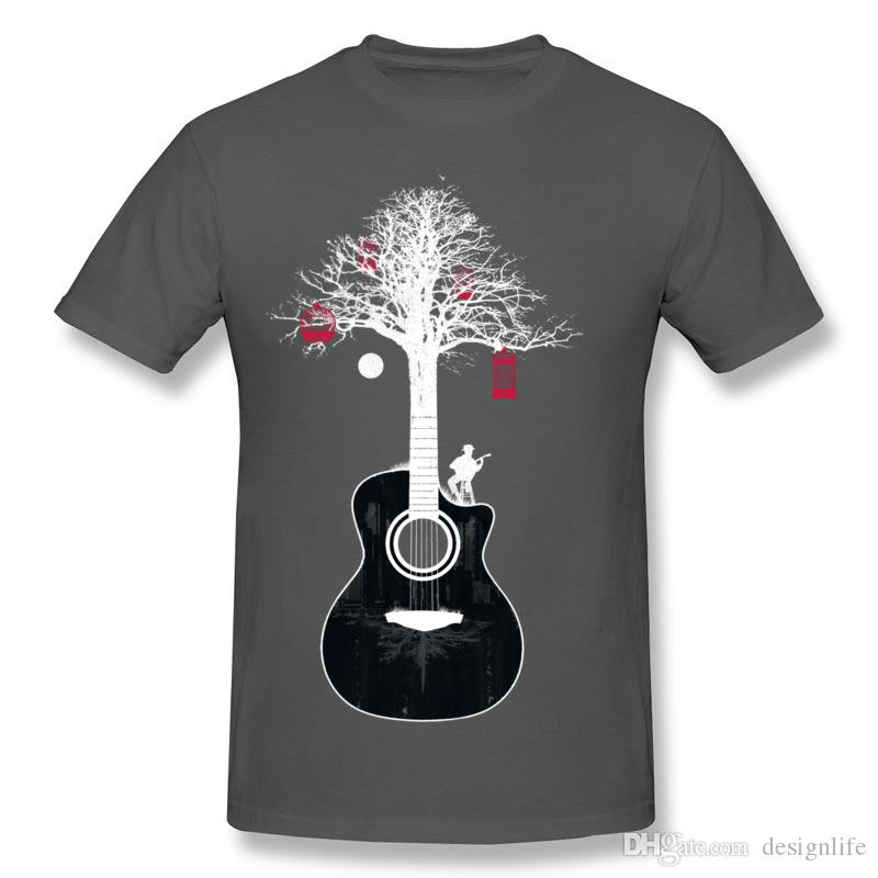 Best Sale Men's 100% Cotton Fabric Serenade Guitar Tree Root T Shirts Men's O Neck Beige Short Sleeve T Shirt Plus Size Summer T Shirts