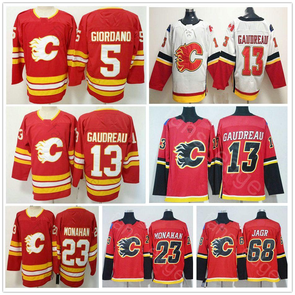 best website b2629 5bfb4 New Calgary Flames 2018 # 13 Johnny Gaudreau-Trikot mit roten Nähten 68  Jaromir Jagr 23 Sean Monahan Blanko 5 Mark Giordano Eishockey-Trikots