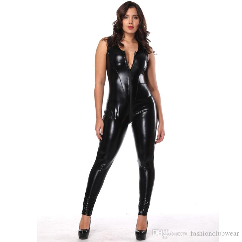 Women Faux Leather Bodysuit Sexy Zipper Front Lace Up Bodycon Jumpsuit Erotic Sleeveless Open Crotch Catsuit Sexy Lingerie