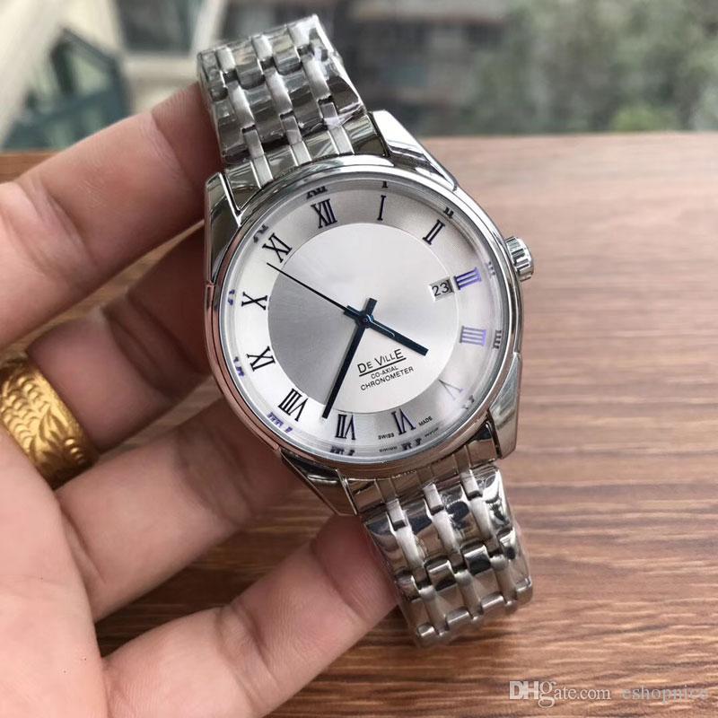 984f54f7e55 Compre Moda Relógios De Pulso Dos Homens Marca De Luxo Relógios Automáticos  Mecânicos Full Stainless Steel Band 40mm Dial Relógio Casual Para O Melhor  ...