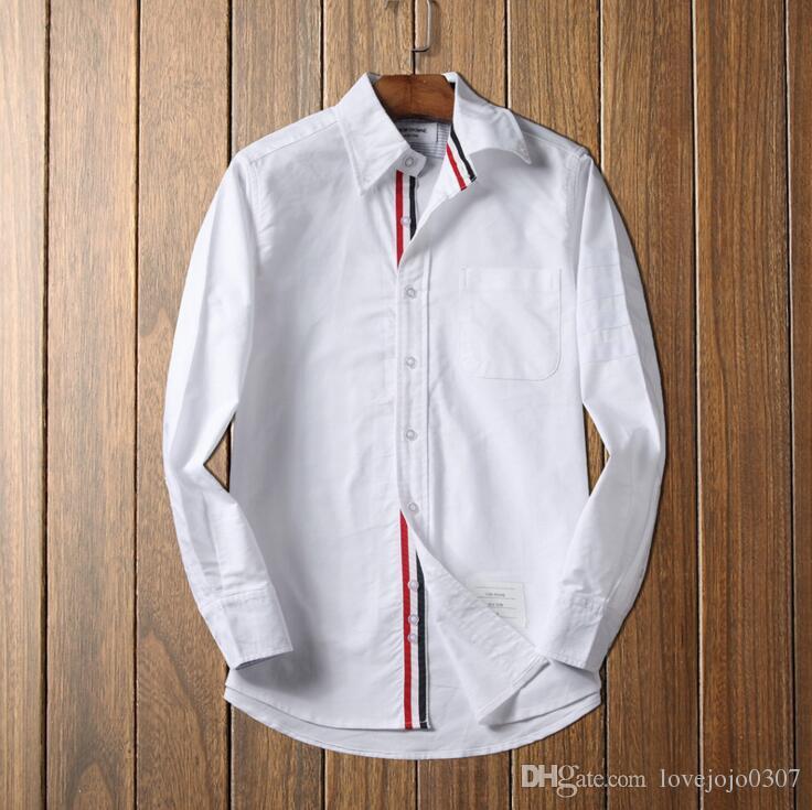 best website 9d42b b7ee7 Herren Baumwollhemden Frühling Herbst 2018 Luxus Langarm gestreiftes  Oxford-Hemd für Mann Slim Fit Hombre formale Hemden für Mann mit Tasche D30