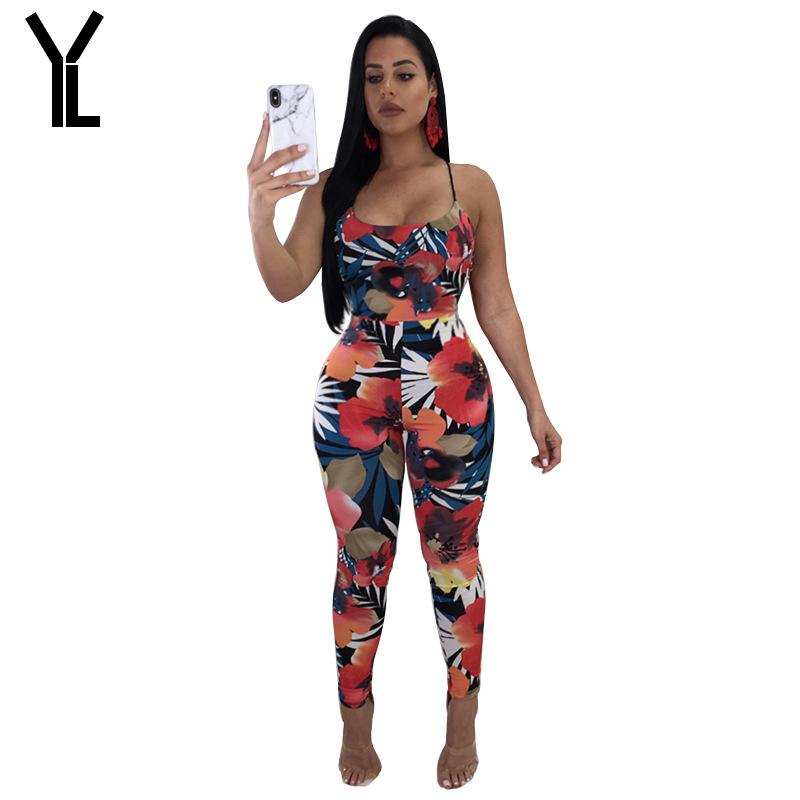 ecd616ed4a8 2018 Women Jumpsuit New Style Skinny Printed Jumpsuit Combinaison ...