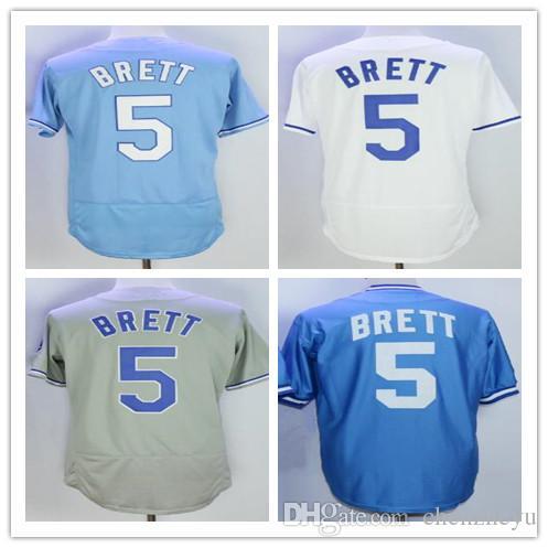 ddfe55c28 Men s 5 George Brett Jersey Baseball Jerseys White Baby KC Blue Gray ...