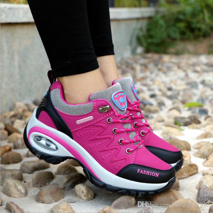 2018 Tenis Feminino Casual Shoes Leather Suede Brand Fashion Sneakers Red  Ladies Trainers Outdoor Damping Shoes Korean Lace Up Women Shoes Tenis  Feminino ... 6a694c45dab3