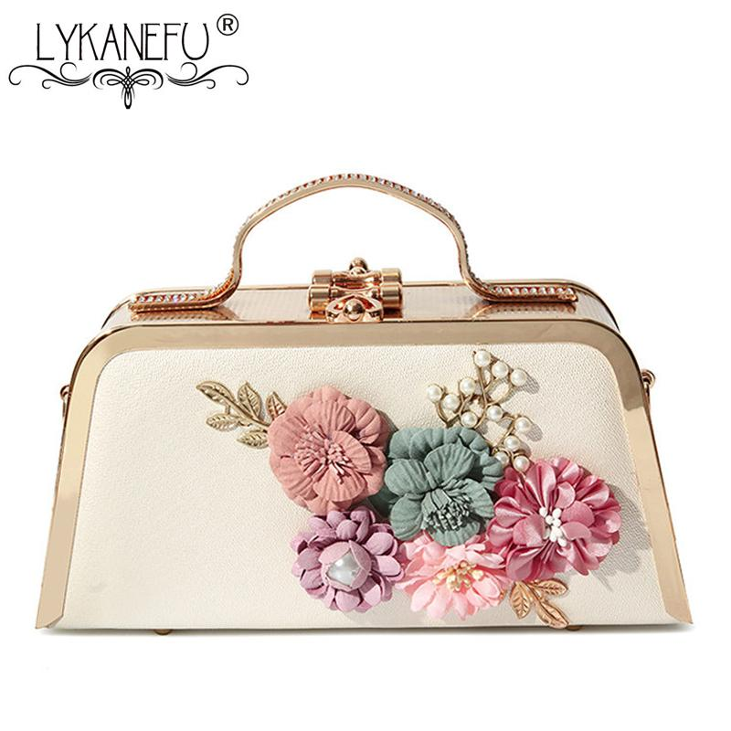 LYKANEFU Tote Women Evening Bags Floral Metal Frame Chain Day Clutches Small Chain Shoulder Hand Bags For Party Wedding Purse
