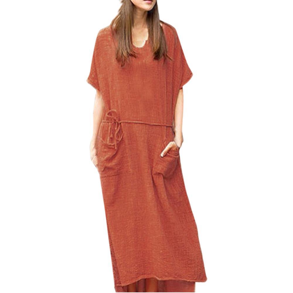 105d7c7b9dc Women Summer Dress 2019 Loose Cotton Linen Short Sleeve Waistband Long Maxi  Dress Print Pleated Party Clubwear Formal Dress Dresses Party Cocktail  Black ...