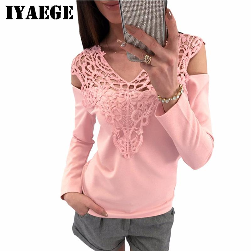 d0c68691b1608 2019 IYAEGE 2018 New Arrival Lace Blouse Sexy V Neck Off Shoulder Top  Casual Long Sleeve Blouse Women Office Shirt Ladies Tops Blusas From  Beasy112