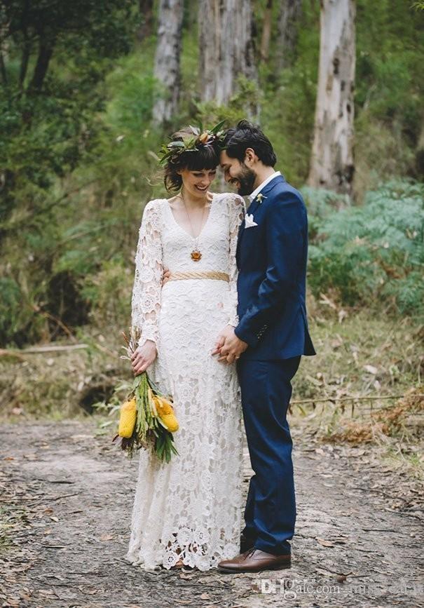 Hippie inspirado en la vendimia Vestidos de novia de encaje de ganchillo de manga larga de Boho Country Beach Vestido de novia Plus Size Bohemio vestidos de novia