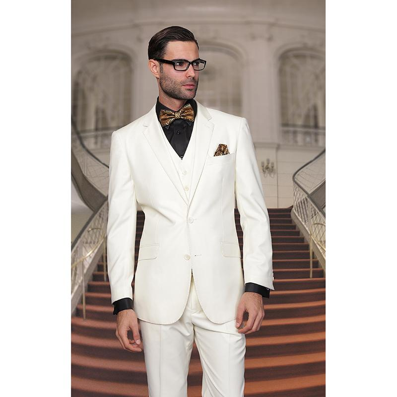 2019 Latest Coat Pant Designs Ivory Jacket Men Wedding Suits Slim