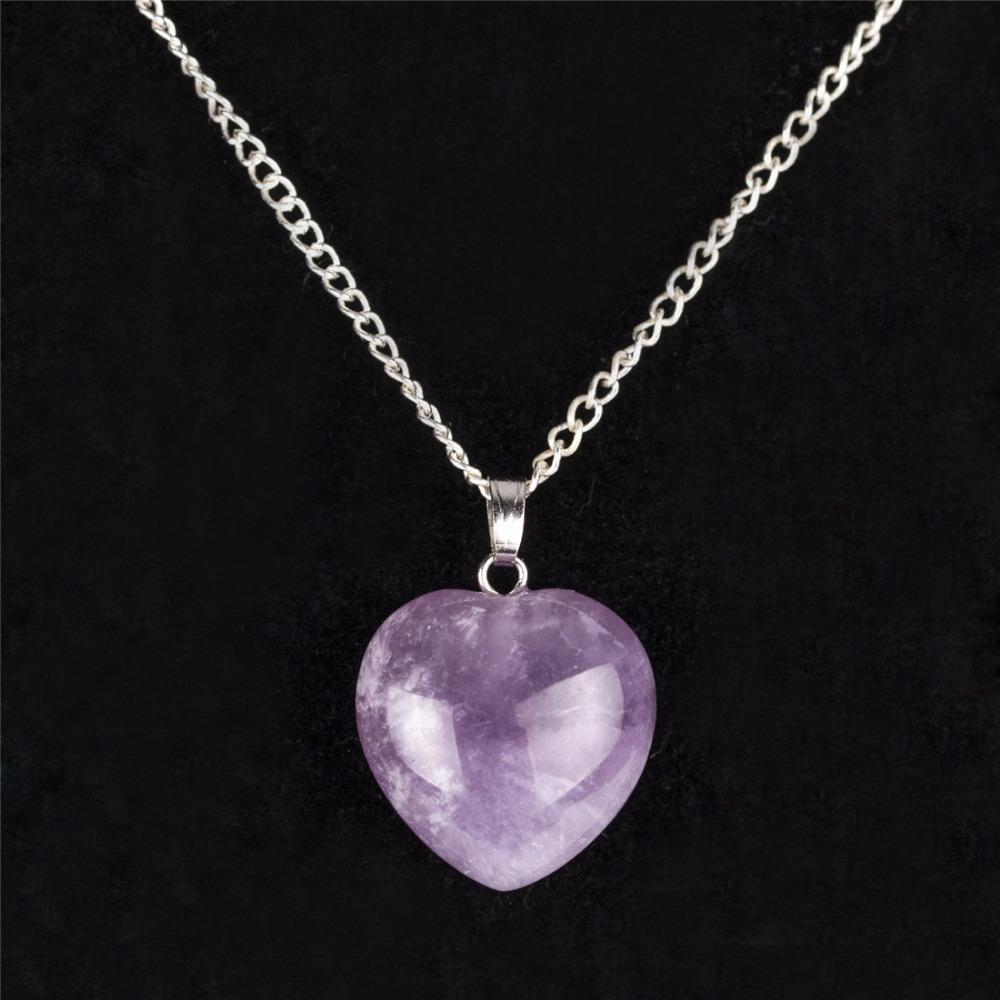 Natural Amethyst Quartz Opalite Heart Women Necklace Romantic Crystal Red Jasper Healing Stone Chakra Reiki Fashion Jewelry