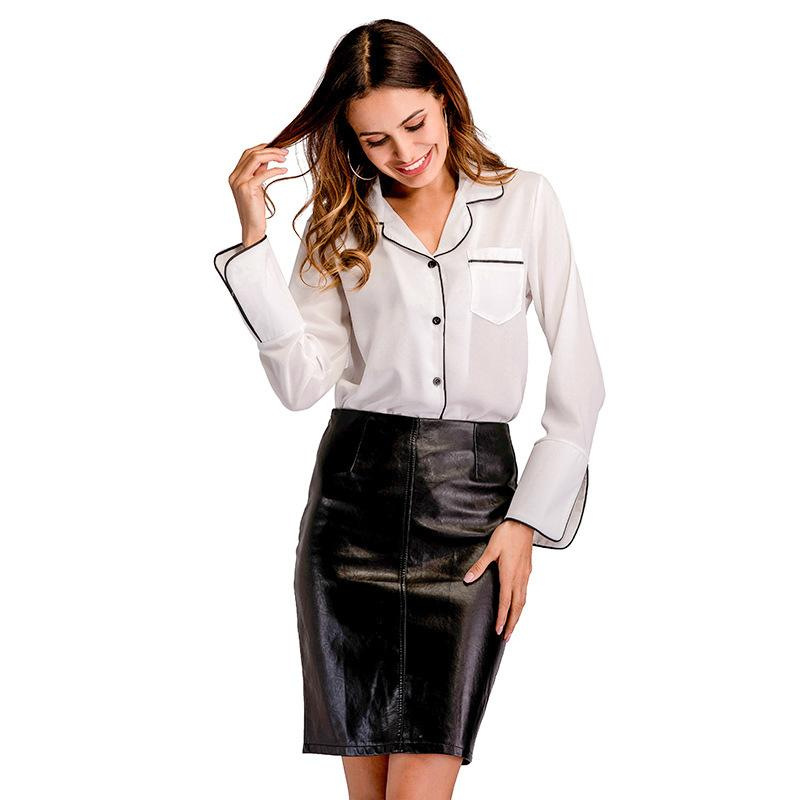 9d5c9095200ae6 2019 2018 Autumn Chiffon Blouse Women Long Sleeve Elegant Ladies Office  Shirts V Neck Work Wear Casual Slim Tops White Blouse Shirts From  Ceciliasa, ...