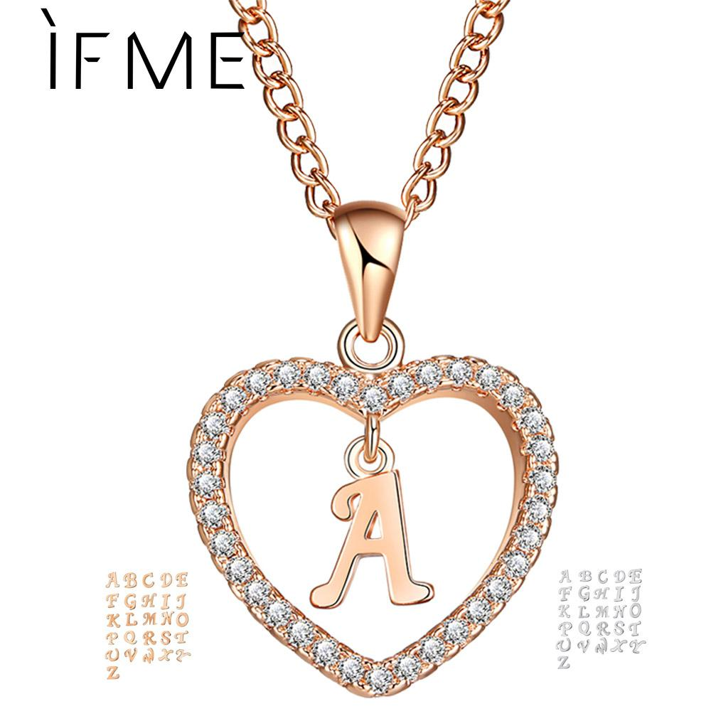 e69158906e Wholesale IF ME Romantic Gold Color Cubic Zirconia Love Heart Crystal  Pendant Letter Name Necklace Charms Women 26 Letters Choker Jewelry Silver  Necklaces ...