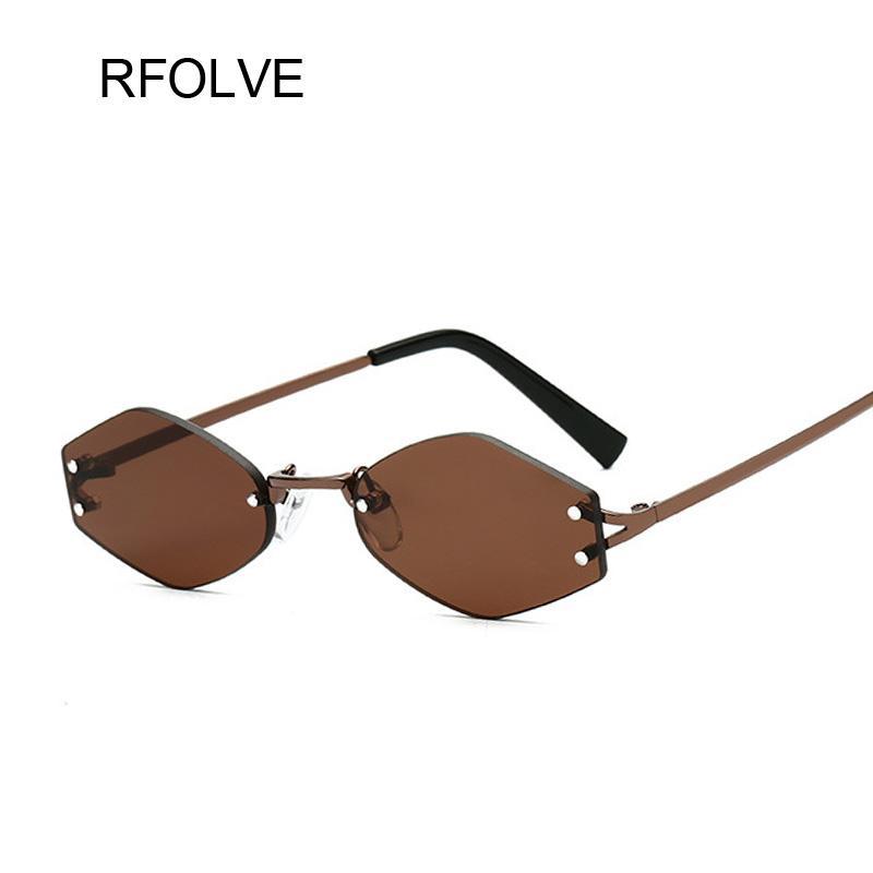 6e98b563f171 RFOLVE Luxury Vintage Rimless Sunglasses Women Men Sexy Travel Small ...