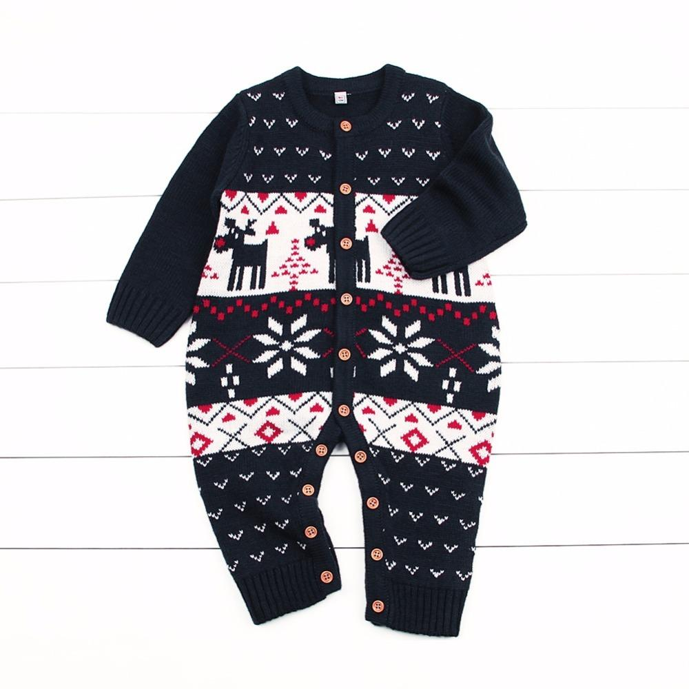 b867024880ee 2019 Christmas Newborn Baby Girls Rompers Winter Knitted Long Sleeve ...