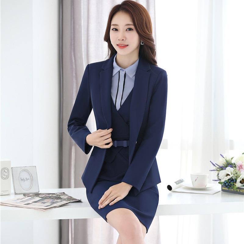 e705d1de8d Compre Nova Moda Slim Profissional Ternos De Negócio Com Blazer + Dress +  Blusa 3 Conjuntos De Peças Para Senhoras Outono Inverno Roupas Uniformes De  Ziron