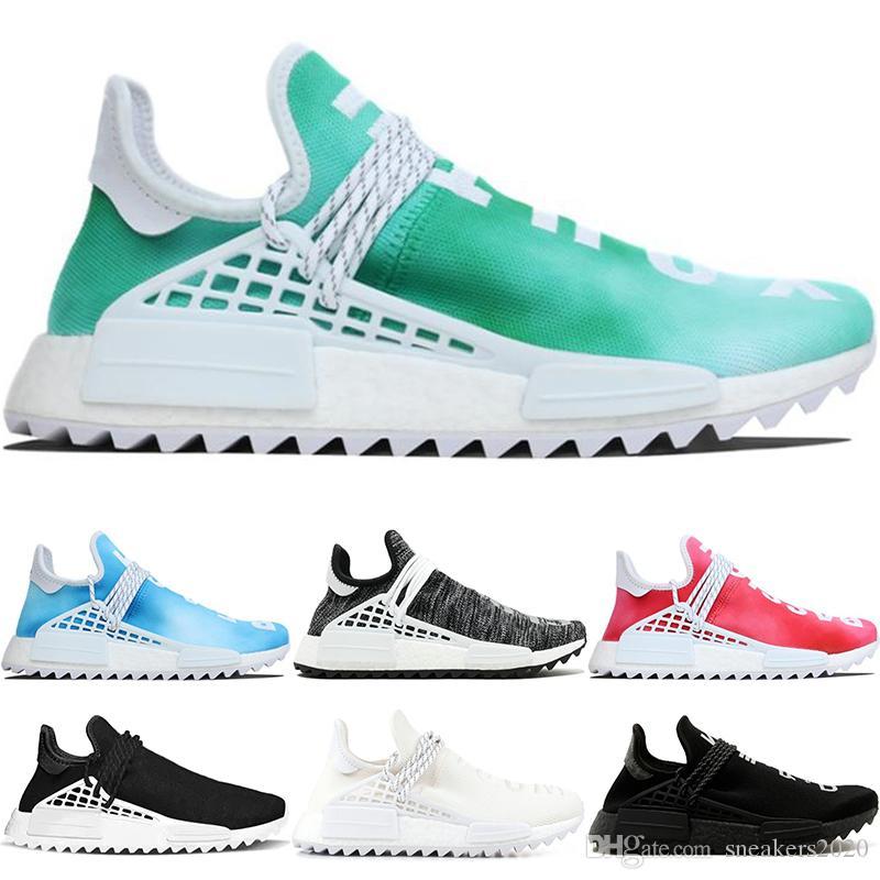 10b690019 2019 NMD Human Race Trail Running Shoes Men Women Nerd Pharrell Williams HU  Runner Black Cream White Designer Trainer Sports Sneakers Size 36 47 From  ...