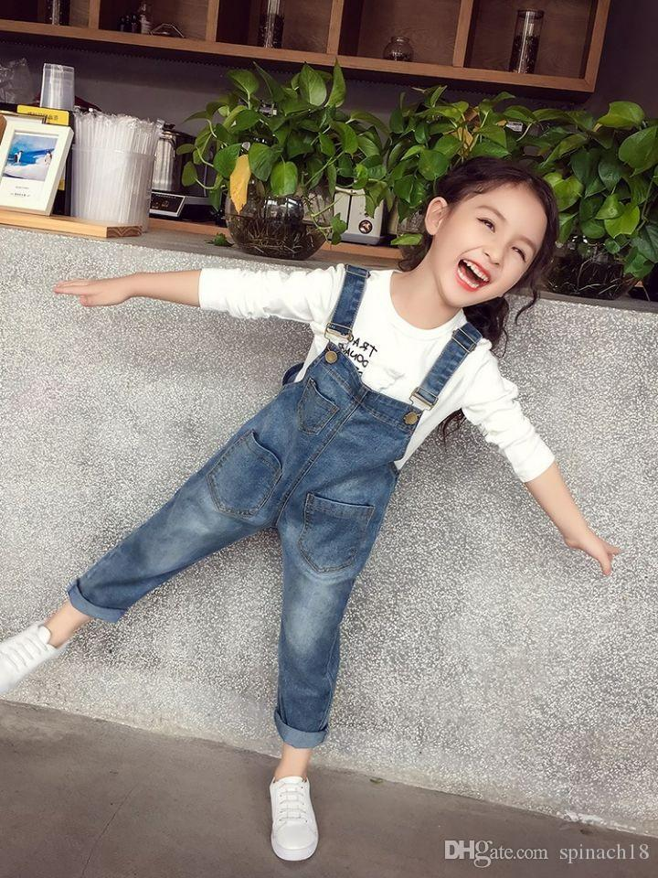 5815cca86e73 2018 Autumn Baby Girls Suspender Jeans Kids Denim Suspender Pants Children Overalls  Jumpsuits Girl Trousers Clothing 4108 Suspenders For Little Girls Bow ...