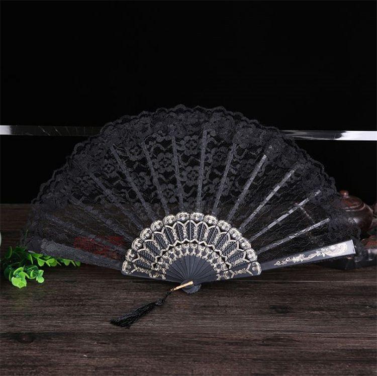 Único ventilador Ventilador de viento de China Yongchun Ventilador de baile de boda de encaje de plástico con una variedad de colores para elegir T4H0234