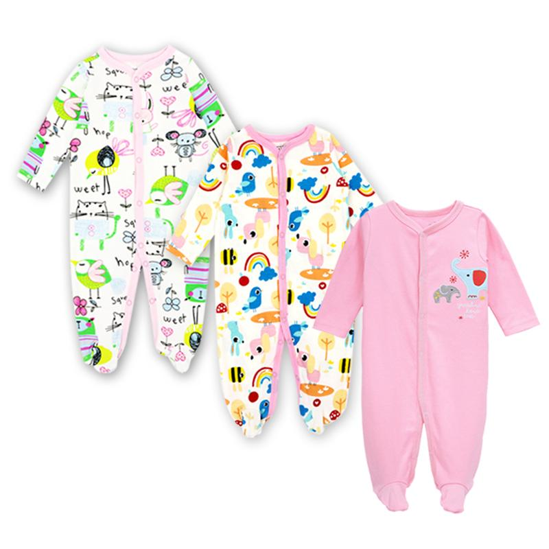 866bdce5d 2019 Newborn Infant Baby Girl Footies Jumpsuit Long Sleeve Outfits 0 12  Months Cotton Cartoon Print Clothes From Mobiletoys, $27.83 | DHgate.Com