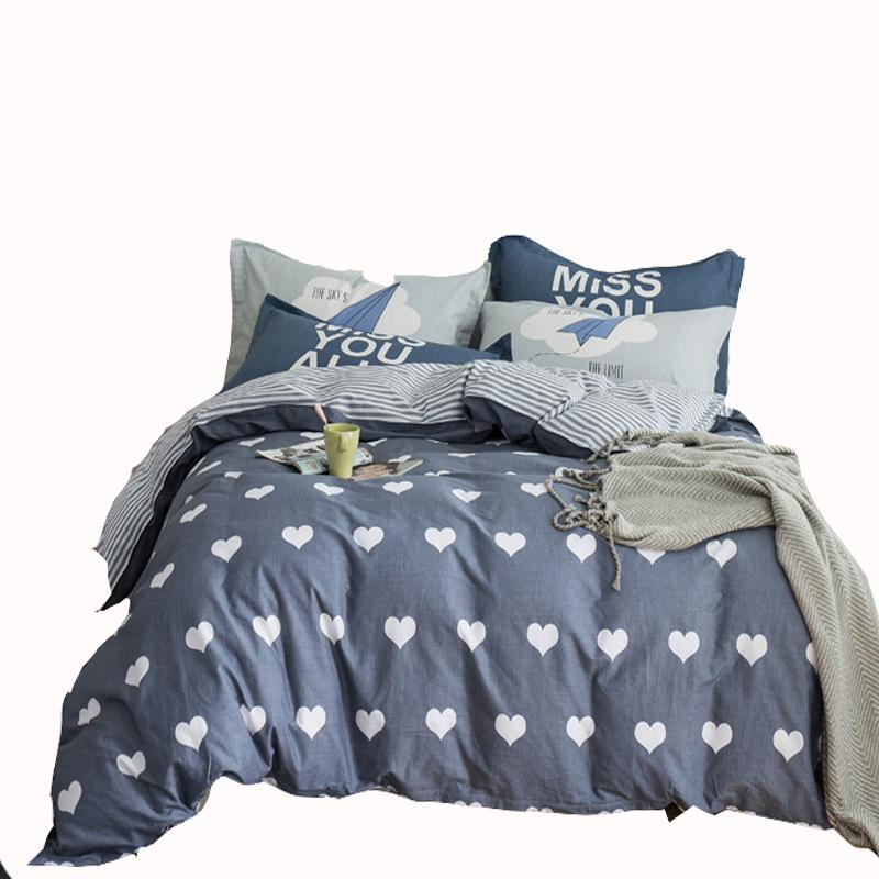 3/4pcs Brief Grey Heart Pattern Duvet Cover Set Queen Size 100% Cotton Bedding Sets For Adults Stripes Bed Sheet Pillow Case