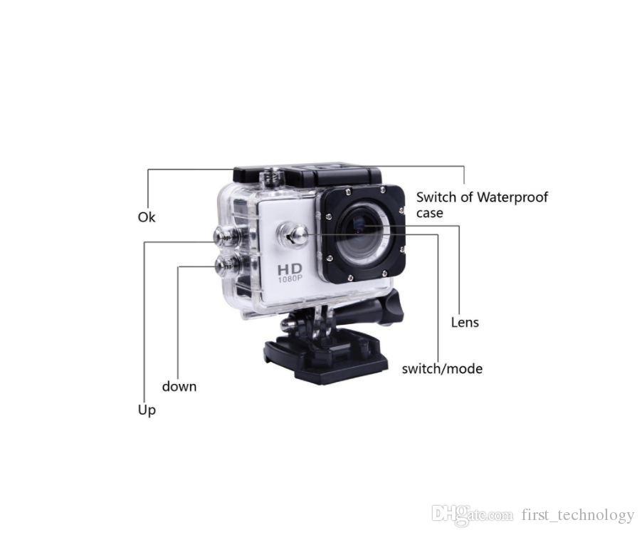Recém SJ4000 Full HD Ação Digital Esporte Câmera 2 Polegada Tela Sob Gravação À Prova D 'Água 30 M DV Mini Sking Bicicleta Foto Vídeo Cam