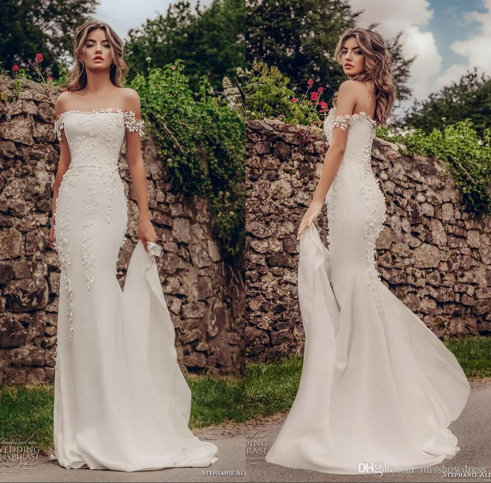afad6212d36 2019 Elegant Off The Shoulder Lace Mermaid Wedding Dresses Tulle Lace  Applique 3D Floral Court Train Wedding Bridal Gowns Sexiest Mermaid Wedding  Dresses ...