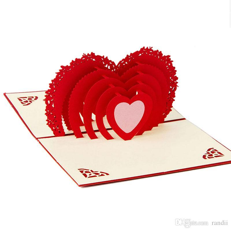 Wholesale Greeting Card 3d Pop Up Card Heart To Heart Anniversary