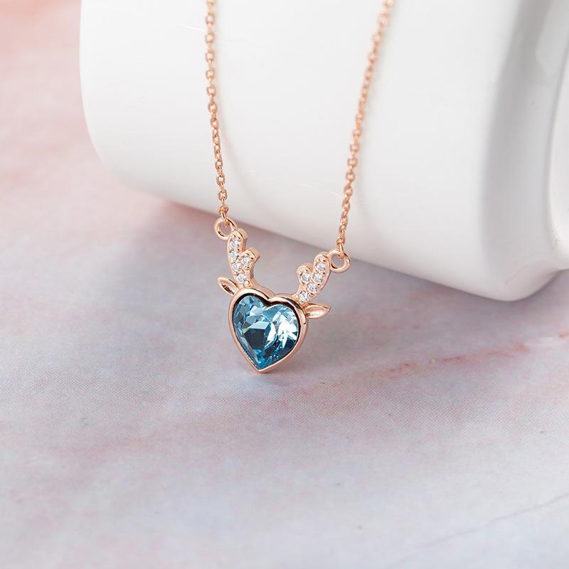 3e32eca4b Wholesale Gemei Cute Women Blue Crystal Necklaces & Pendants Fashion 925  Sterling Silver Jewellery 2018 Fashion Silver Necklace Chain Diamond Pendant  Love ...