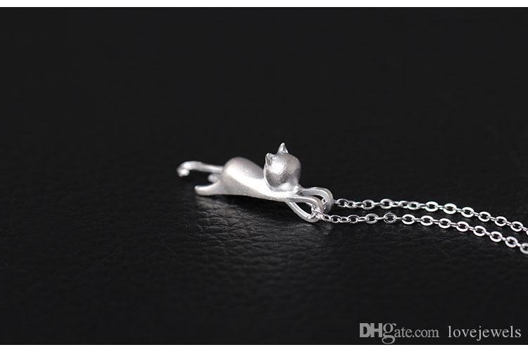 Charms 925 sterling silver Kitten pendant boutique handmade stereo cat Necklace meow star sets jewelry valentines day gift women chain