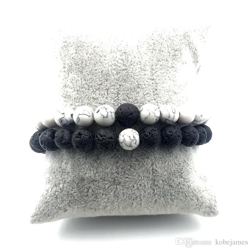 / set 8mm weiße Howlite Stein und Vulkangestein Lava Steinperlen Armbänder für Frauen Männer Stretch Schmuck Geschenk A18038