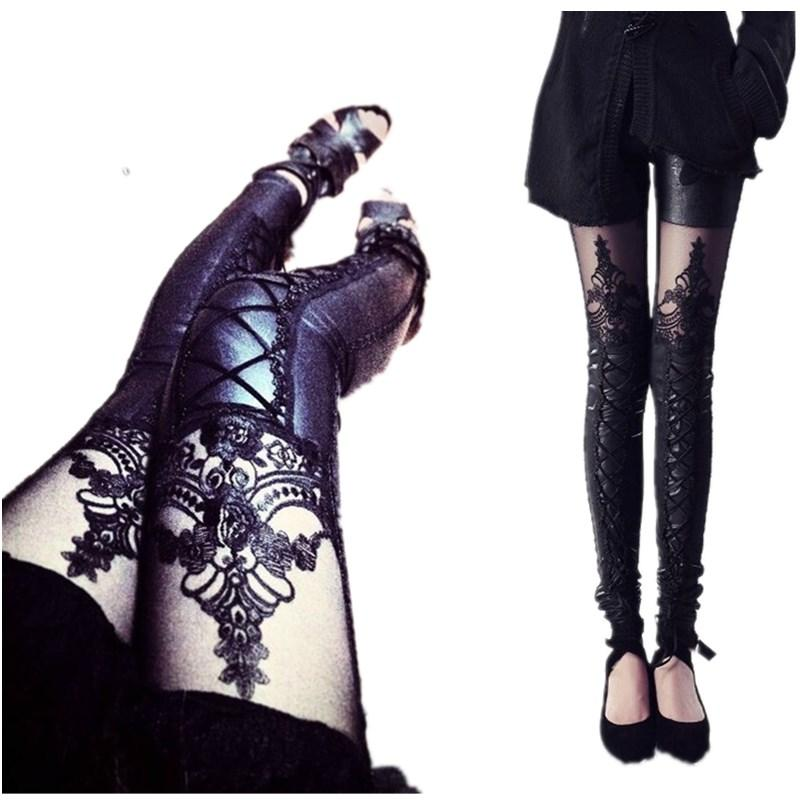 1c2d5ea7fd76cc 2019 Wholesale New Black Punk Gothic PU Leggings Leather Pants Stitching  Embossed Lace Leggings For Women, Fashion Hollow Sheer Sexy Leggings From  Maoku, ...