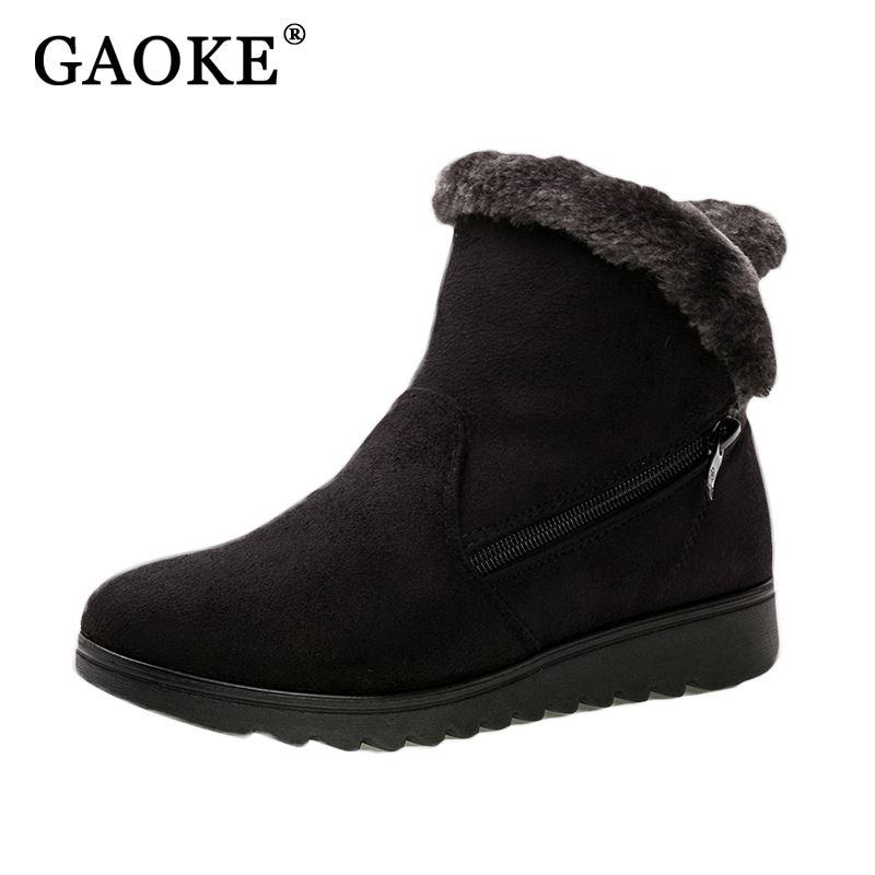 e5a46a717d16 Shoes Woman Flat Ankle Snow Motorcycle Boots Female Suede Leather Rubber Winter  Boots Women Warm Fur Plush Women S Ankle Boots Slipper Boots Ankle Booties  ...
