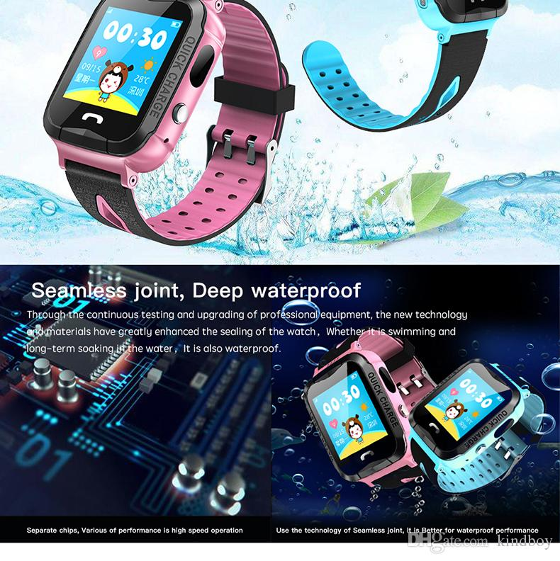 IP67 Waterproof V6G Smart Watch GPS Tracker Monitor SOS Call with Camera Lighting Baby Swimming Smartwatch for Kids Child free DHL
