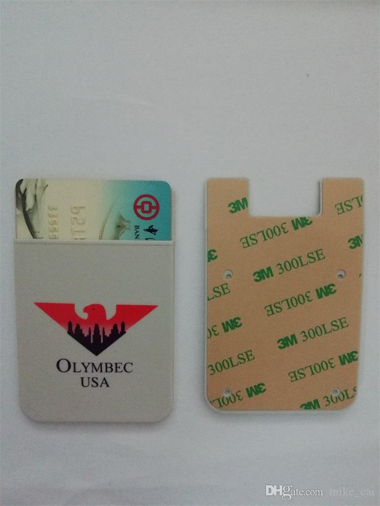 New Products Customized logo flat mouth 3m adhesive custom print silicone id card credit card holder mobile cell phone sticker card holder