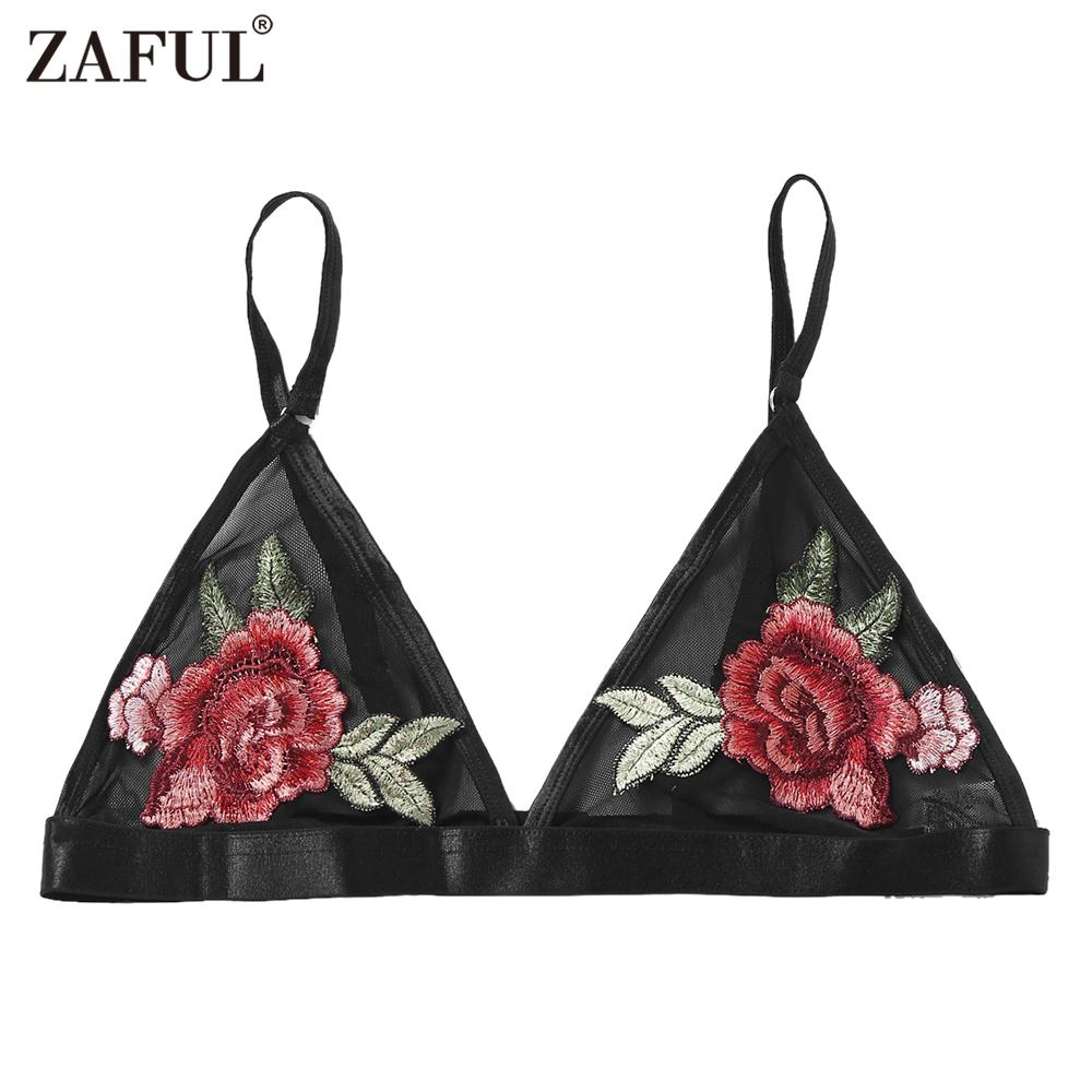 41f0b0633c4a Wholesale Sexy Black Mesh Embroidery Floral Strappy Unpadded Bra ...