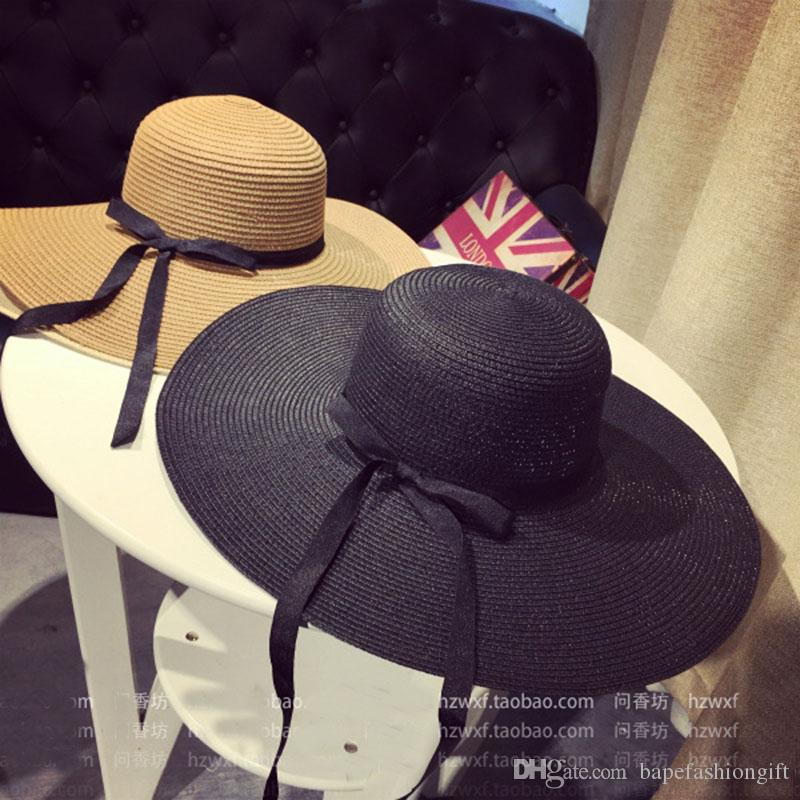 1fbfad3800b Large Floppy Hats For Ladies Foldable Straw Hat Boho Wide Brim Hats Summer  Beach Hat For Lady Khaki Sunscreen Cups Panama Hats Fedora Hats From ...
