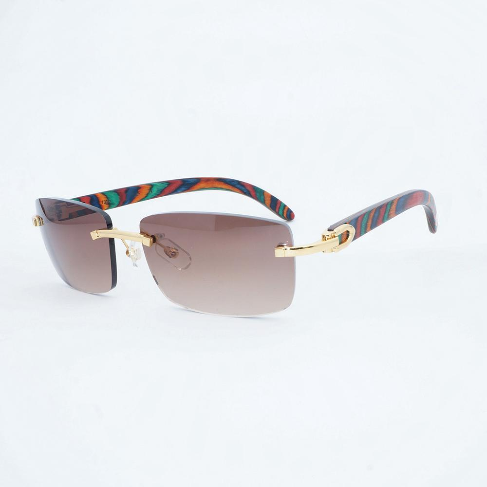 Vintage Rimless Sunglasses Men Peacock Wood Sun Glasses Frame Luxury ...