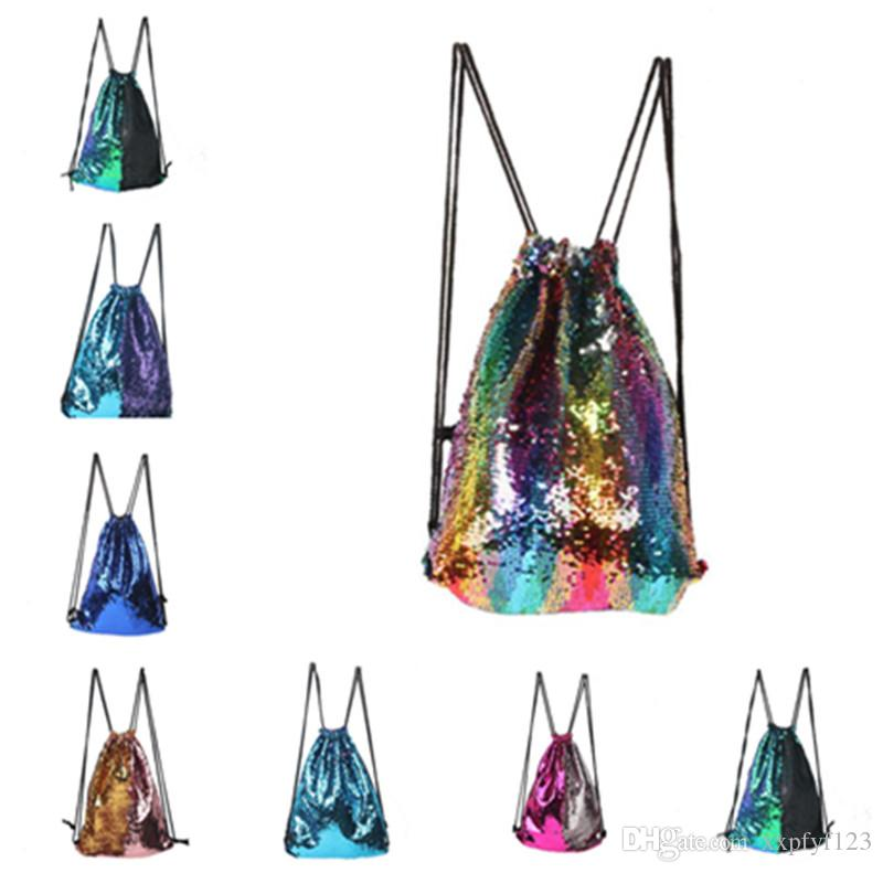 2926b3682f3f Mermaid Sequin Backpack Sequins Drawstring Bags Reversible Paillette  Outdoor Backpack Glitter Sports Shoulder Bags Travel Cosmetic Bag A378  Makeup Box Cheap ...