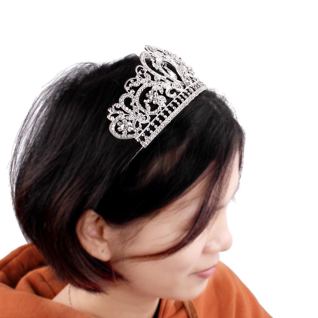 Hollow Alaşım Kristal Taç Headdress Gelin Düğün Için Gümüş Saç Süsler Doğum Günü Partisi Headdress Kızlar Hatta Parti