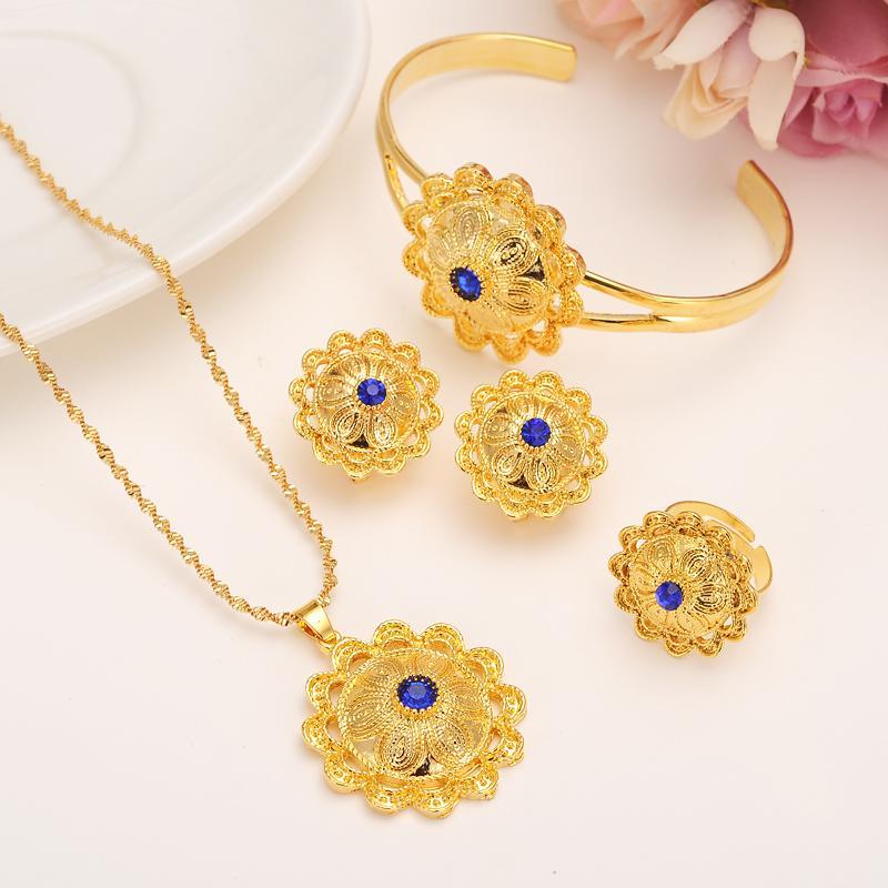 Whole Saleparty Wedding Ethiopian Bridal Jewelry Sets Gold Fashion