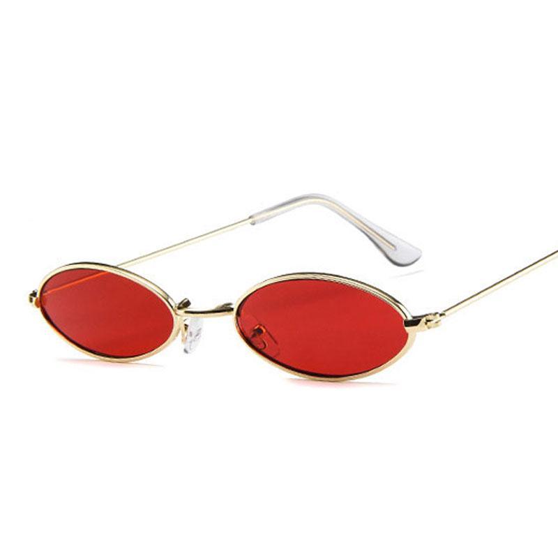 c38ac18ec5 Pequenos óculos de sol ovais para Mulheres homens masculino retro armação  de metal amarelo vermelho do vintage pequeno rodada óculos de sol para ...