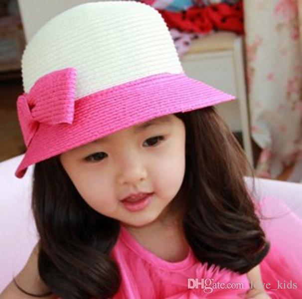 2019 Cute Kids Toddler Sun Cap New Girls Hat Bucket Hat Girls Bow Sun  Patchwork Caps Baby Girls Summer Hats From Love kids 8356d8dd4278