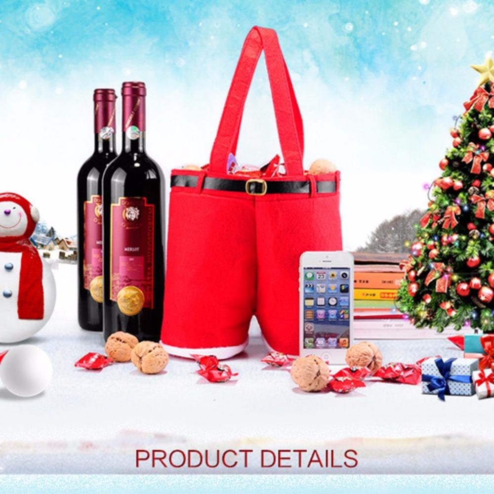 Merry Christmas Candy Wine Gift Bottle Bag Santa Claus Suspender ...