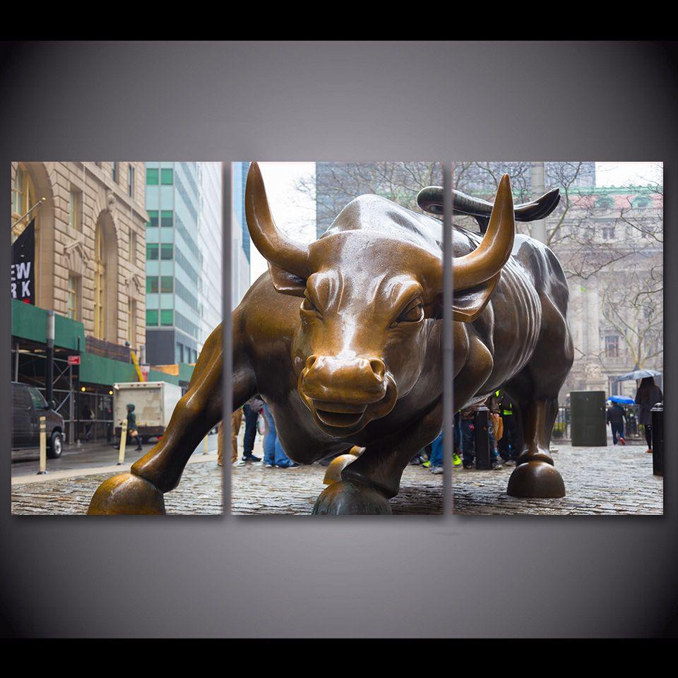 3 Piece Painting On Canvas Wall Art Nyc Street Lights New: 2019 HD Print Canvas Art Wall Street Bull Market New York