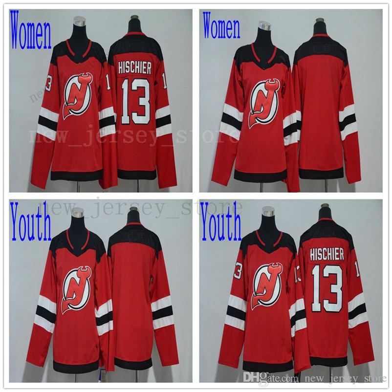Men Women Youth Hockey New Jersey Devils Jersey Kids Red 13 Nico ... ae0cc0989
