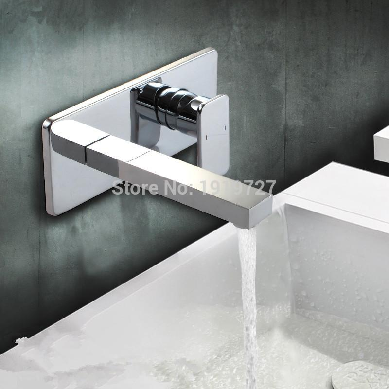 2018 New Chrome Square Style Bath Basin Tap 100% Brass Mixer ...